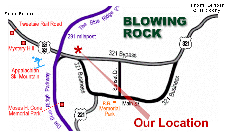 Cliff Dwellers Inn - Blowing Rock NC Location Map